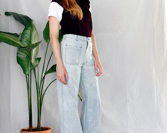 Vintage 70's White Washed Super High Waist Raw Edge Denim Flares sz 27 , 70's Bleached Denim Sailor Pants sz 27