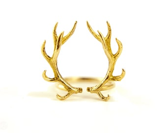 Deer Antler Ring Antique Gold Plated Silver Adjustable Ring Horns Wrap Ring Boho Jewelry - FRI001 YGS T2