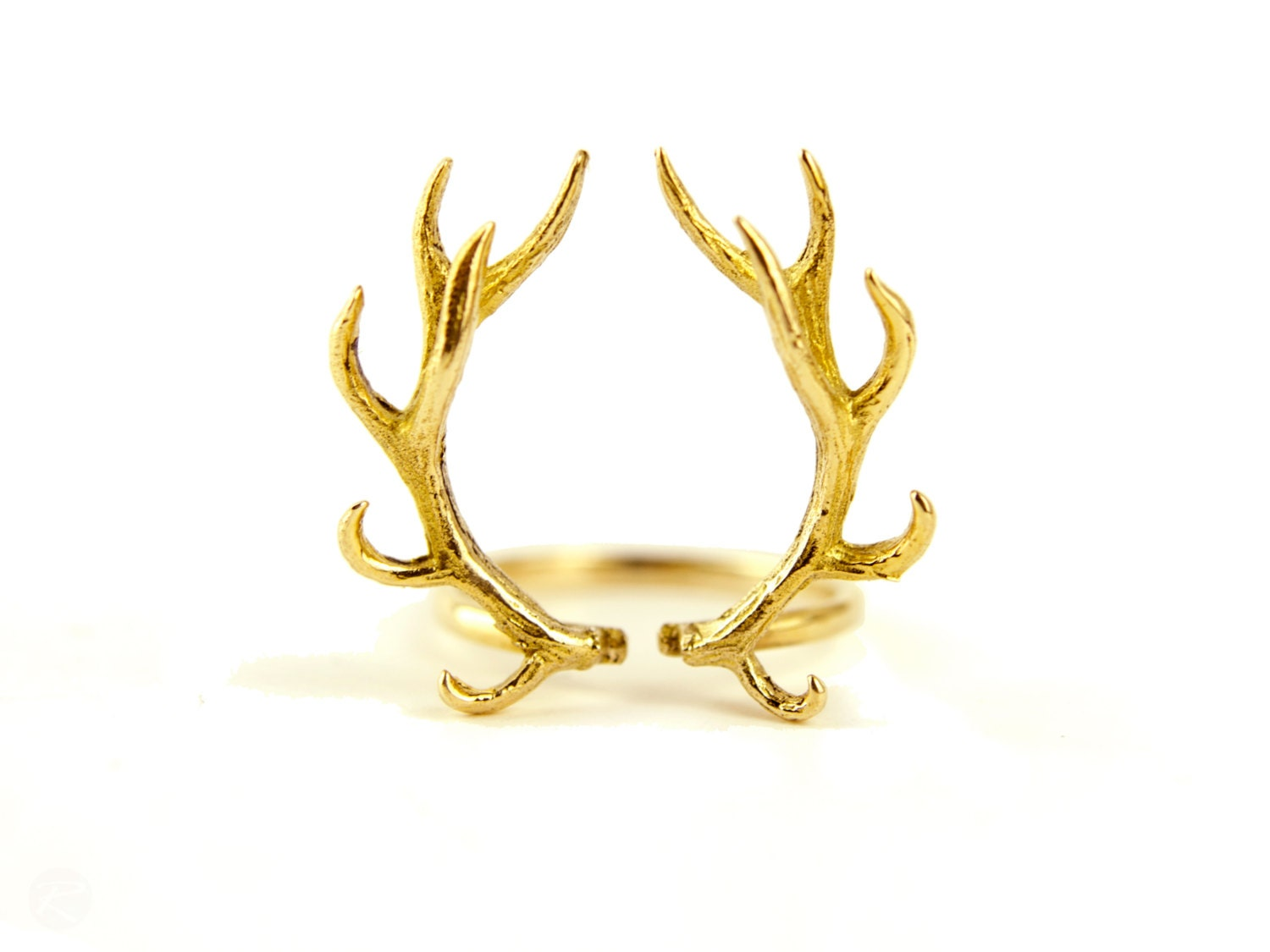 deer antler ring antique gold plated silver adjustable ring