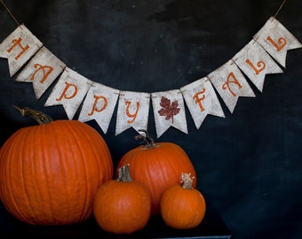 Rustic Fall Banner, Rustic Happy Fall Burlap Banner, Fall Banner, Fall Decor, Fall Photo Prop, B180