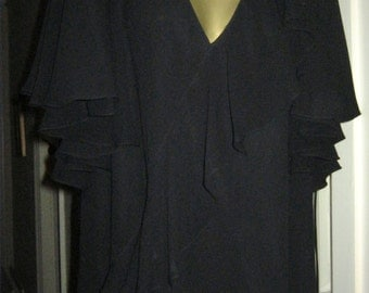 Vintage Parigi Dress - Polyester chiffon with Ruffle front and sleeves - size 12-14 UK