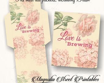 Tea Bag Covers, Printable Tea Bag Envelopes, Love Is Brewing Tea Bags, Shabby Chic Tea Envelopes, DIY Tea Bags, Bridal Tea, Birthday Tea