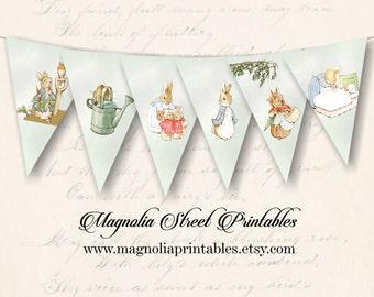 Printable Peter Rabbit Banner, Beatrix Potter Banner, Printable Easter Banner, Baby Shower Banner, Instant Digital Download