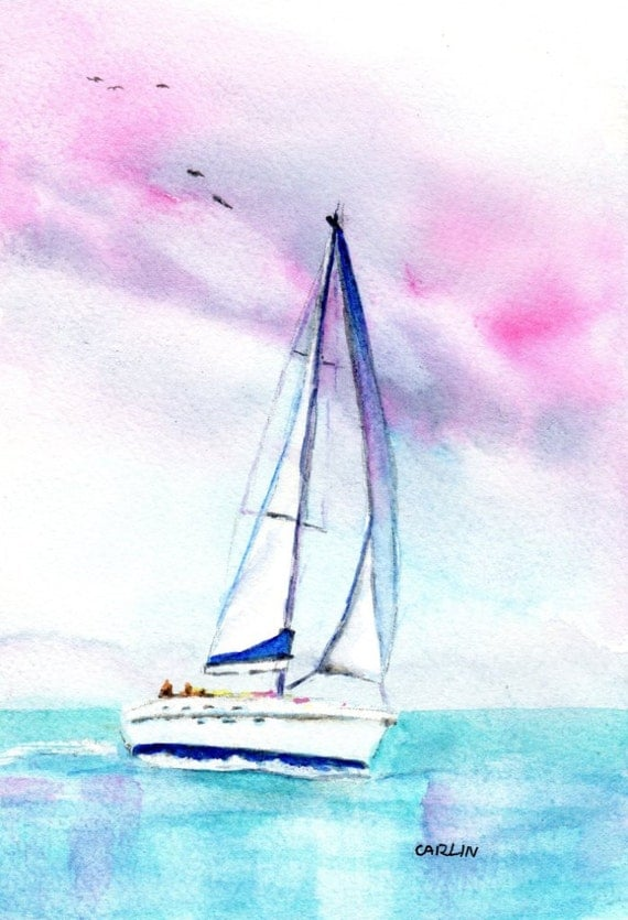 Watercolor Sailboat Original Painting 5x7 Inch 8x10