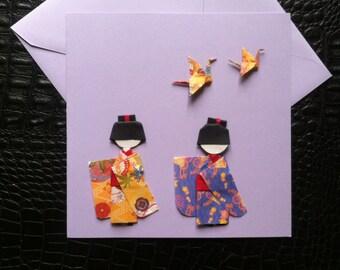 Card origami Kokeshi
