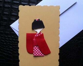 Kokeshi origami greeting card