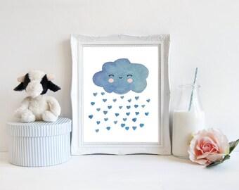 Watercolor Cloud Digital Art, Baby room Decor, Pastel Blue Modern nursery print, Sweet Cloud Instant download (BabyArt G8)