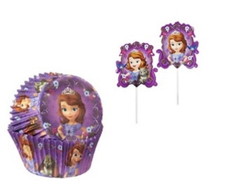 Sofia the First Baking Cups with 12 Sofia the First Cupcake Picks