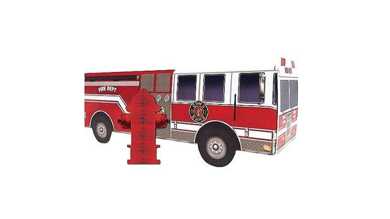 Fire truck centerpiece with hydrant