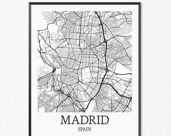 Madrid Map Art Print, Madrid Poster Map of Madrid Decor, Madrid City Map Art, Madrid Gift, Madrid Spain Art Poster