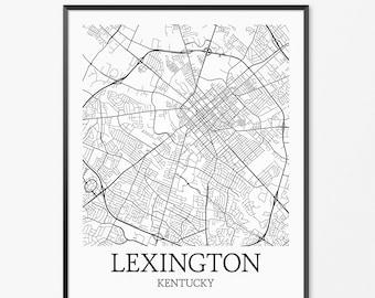 Lexington Map Art Print, Lexington Poster Map of Lexington Decor, Lexington City Map Art, Lexington Gift, Lexington Kentucky Art Poster