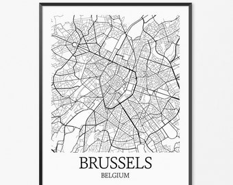 Brussels Map Art Print, Brussels Poster Map of Brussels Decor, Brussels City Map Art, Brussels Gift, Brussels Belgium Art Poster