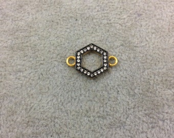 Small Gold Finish Hex/Hexagon Shaped CZ Cubic Zirconia Inlaid Plated Copper Connector Component - Measuring 13mm x 13mm  - Sold Individually