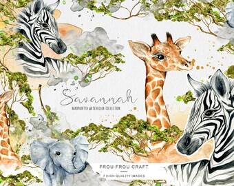 Animals ClipArt Watercolor Zebra Giraffe Elephant Savannah Baby Shower Nursery Invitation Handpainted Vintage Retro Original DIY Pack