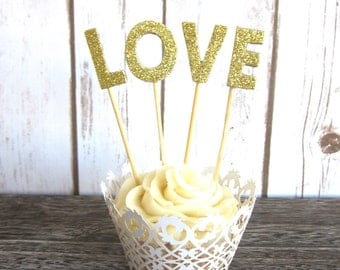 Glitter Gold LOVE Cake Topper / Cupcake Topper / Wedding