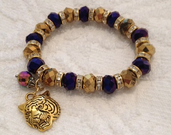 """LSU Inspired Football Bracelet ~ """"Mike the Tiger"""" ~ Chic Stretch Bracelet ~ Purple and Gold Jewelry ~ Free USA Shipping"""