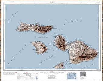 Maui Map, Maui Print, Maui Art, Hawaii Art, Hawaiian Decor, Hawaii Print, Hawaii Wall Art