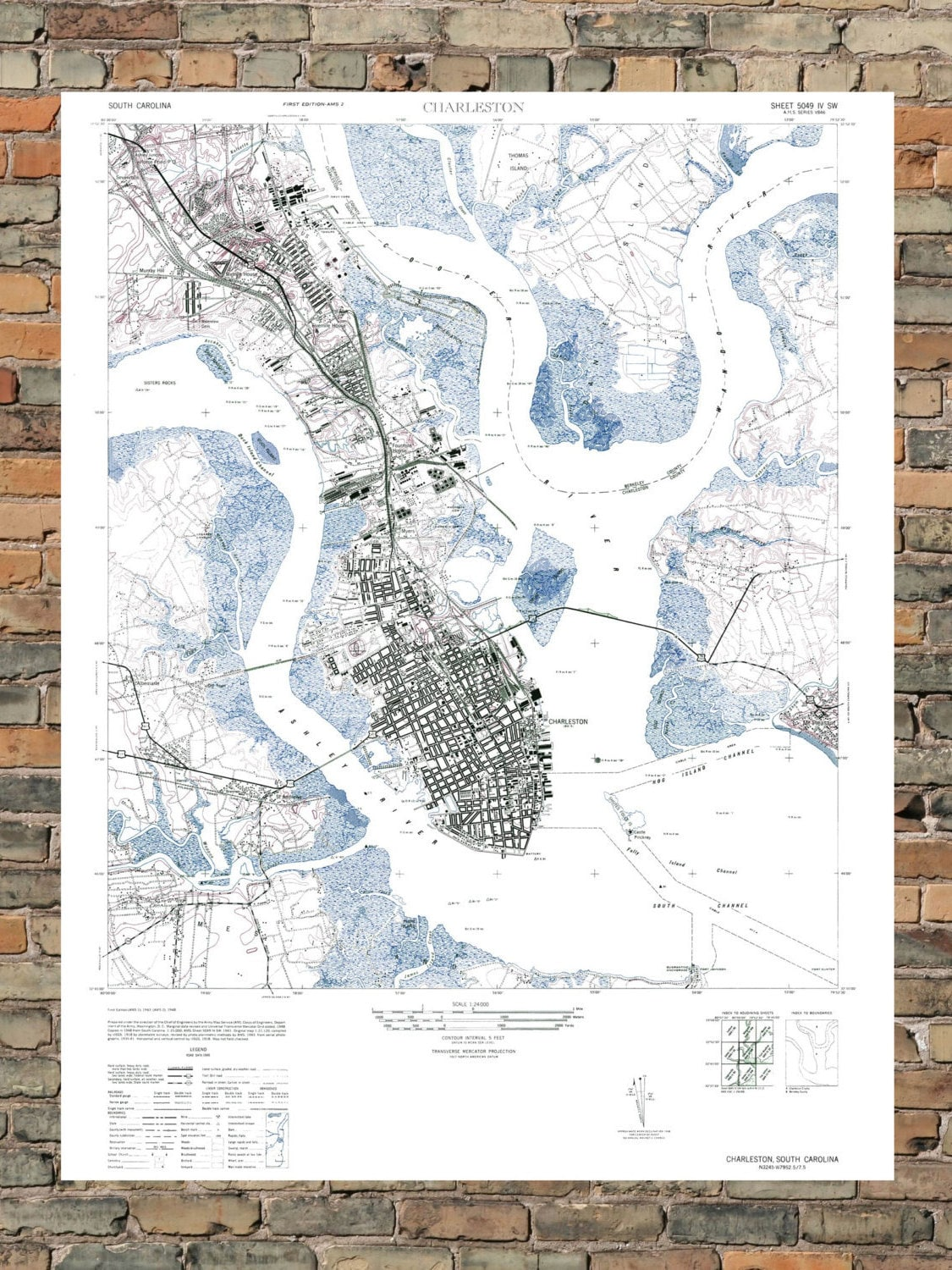 Charleston SC Art Map Poster SC Art Vintage Map By ParMarMedia