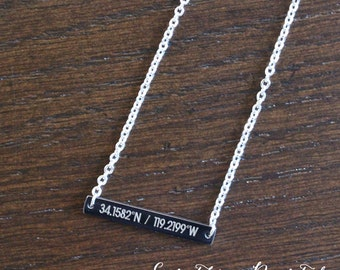 Rose Gold Coordinates Necklace, Horizontal Bar Necklace, Custom Engraved Necklace, Bridesmaid Necklace, Wedding Gift, Minimalist Jewelry