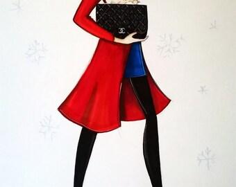 ORIGINAL fashion illustration-RED COAT