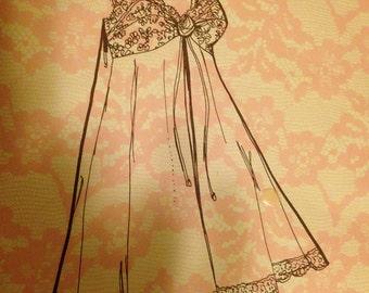 Delores St. Paul Original - Vintage Pattern - 1969 - Bra Gown - Size 36 - Uncut