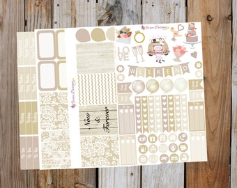Bridal Champagne Planner Stickers Mini Kit. | Premium Glossy HD Stickers for use with ERIN CONDREN LifePlanner