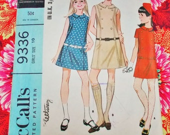 "McCall's Sewing Pattern - 1968 -  Girl's One-piece Dress - size 10 chest 28 1/2"" - Mpn 9336 - Used - Please read notes"