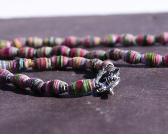 CLEARANCE Upcycled Jewellery Necklace from Recycled Magazines - Pink and Green