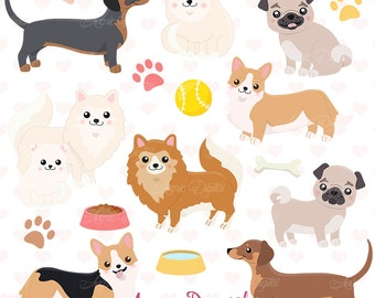 Cute Dog Clipart. Scrapbooking printables, Vector .eps and png Puppy clip art set. Small Corgi, Pug, Pomeranian, Dachshund dogs graphics