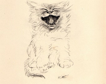RARE Lucy Dawson 1946 Vintage CAT PRINT Kitty Laughing