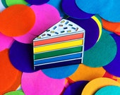 Rainbow Cake enamel pin - lapel pin - hat pin