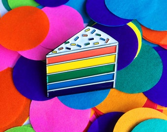 Rainbow Cake enamel pin - lapel pin - hat pin