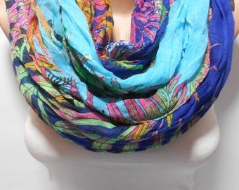 Fish Print Scarf Shawl Underwater Print Scarf Ocean Print Scarf Pareo Spring Scarf Crinkle Blue Scarf Summer Scarf Christmas Gifts For Her