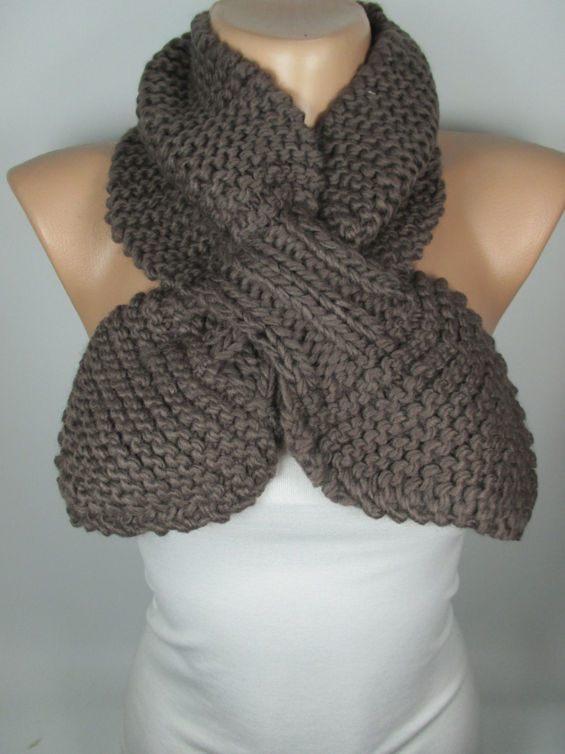 Knitting Pattern Ascot Scarf : Knitted Bow Scarf Brown Scarf Ascot Neck Warmer Cozy Scarf