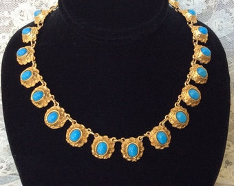 """Fabulous Victorian Etruscan Revival Turquoise Glass and Gold Plated 16"""" Necklace! Wonderful Rich Feel!"""