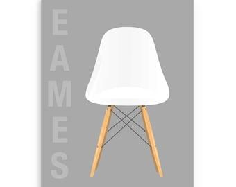Mid Century Chair Print, White Eames Chair Poster Print, Eames Art, Eames Print, Eames Design Decor, Herman Miller Chair, Mid-Century Decor