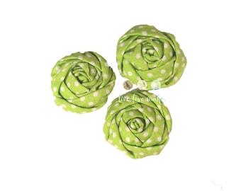 "Set of (3) 1.5"" Lime-Green-Polka Dot-Mini Rolled Fabric Rosette-Rosette-Fabric Flower-Rolled Rosette-Rose-Shabby Chic-small-petite-Christmas"