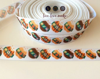 "7/8"" Cookie Grosgrain Ribbon-Ribbon by the yard-Trim-Ribbon by the yard-Scrapbook-DIY-Hairbow-Hair Bow"