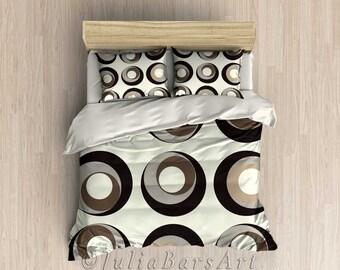 Brown Gray Taupe Duvet Cover, Comforter Set, Modern Bedding, Twin, Queen, King Comforter, Off White Beige Bedroom Decor, Pillowcase Set