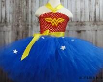 Superhero Wonderwoman tutu inspired Costume-With Embroidery Tiara & Cuffs-Great for Birthdays, Photos, Cake Smasher or Just for Fun