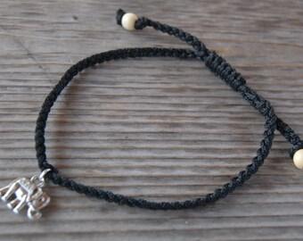 Elephant Anklet,Elephant Bracelet,Adjustable Drawstring,Bohemian Anklet,Gypsy Anklet,Summer Anklet,Woman,Ladies Anklet,Girls Anklet