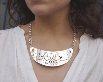 Plastron Necklace with Perfored Motifs, Silver Plated