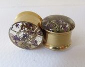 "Plugs, Gold Tunnels, Real Purple Flower & Sea Moss, 14mm 9/16"" , Natural Girly Handmade Unique Floral Plug Gauge Unusual Ear Tunnels"