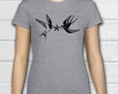 Swallow Tattoo, Rockabilly clothing, Compass, Nautical, Sailor tattoo, Womens tees, Womens shirts, Ladies T shirts, Crewneck Tee