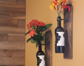 Reclaimed Rustic Wood Wine Bottle Vase Wall Sconce- Industrial, Steampunk, Rustic Cottage Chic style