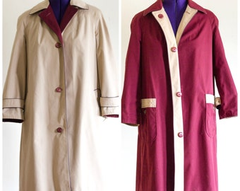 Reversible burgundy and tan raincoat from Etienne Aigner SIZE 14