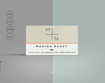 DIY Business Card Template | Premade Business Card Photoshop Template | Hipster Business Card | Clean Design | Instant Download
