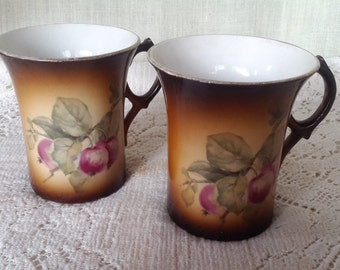 Two Warwick  brown porcelain cups with fruit