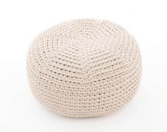 MILKY crocheted  KID size POUF/ floor cushion/ hypoalergic pouf/rope  poof/bean bag chair/ Ottoman/ footstool/rustic pouf