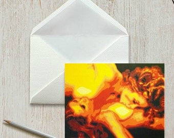 "Fine Art Note Card, Lesbian Couple Art, Painting Notecards, 4""x6"" Fine Art Card, Notecard, Greeting Card, Gift for her, Lesbian, Sensual art"